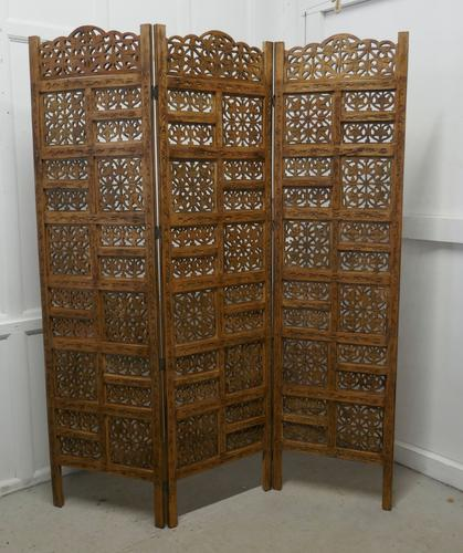 Large North African Carved Pierced 3 Fold Screen (1 of 4)