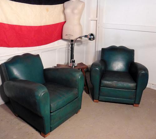 A Pair of 1920s French Art Deco Leather Club Chairs in Green (1 of 1)