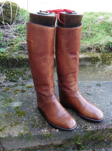 Pair of Gentleman'S Antique Leather Riding Boots with Trees C.1900 (1 of 6)