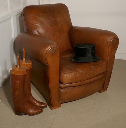 French Aged Leather Art Deco Club Chair (1 of 1)