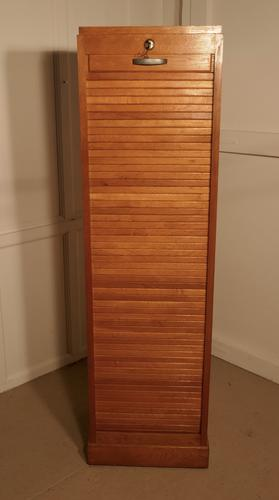A French Tambour Fronted Oak Art Deco Filing Cabinet (1 of 1)