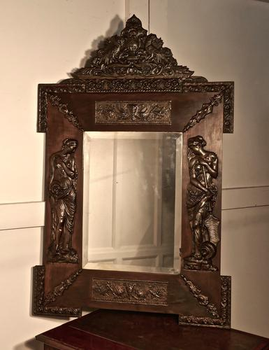 A Large Napoleon III French Bronze and Fruitwood Mirror (1 of 1)