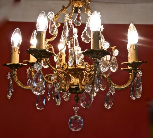 Stunning Large 8 Branch Chandelier by Lucien Gau Paris c.1920 (1 of 1)