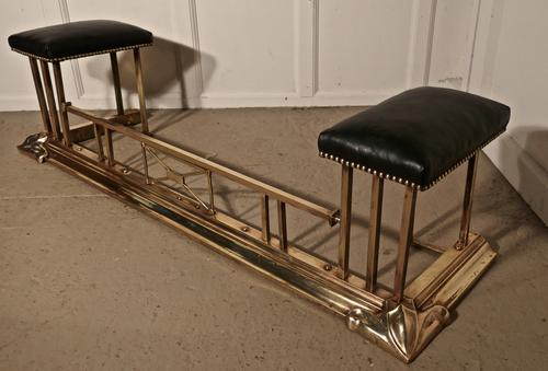 An Art Nouveau Brass & Leather Club Fender (1 of 1)
