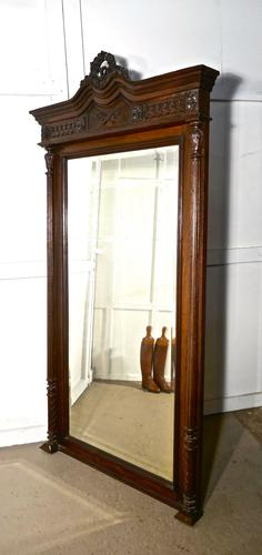 Very Large French Carved Oak Wall Mirror (1 of 1)