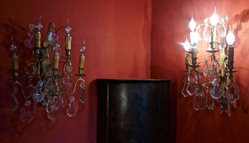 Pair of  Large Five Branch Wall Light Chandeliers c.1920 (1 of 1)