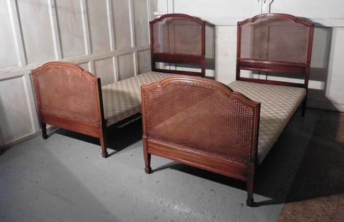 A Superb Pair of Art Deco Mahogany, Bergère  Twin Beds, by Maples (1 of 1)