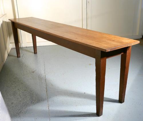 Long Narrow Golden Oak Farmhouse Kitchen Table (1 of 1)