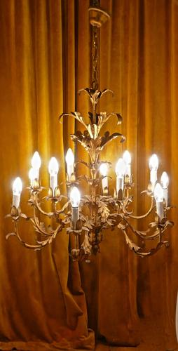 Very Large French 12 Branch Gold Tole Chandelier c.1900 (1 of 1)