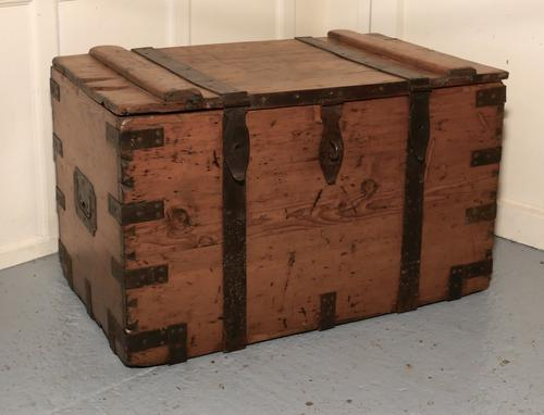 Large Victorian Pine and Iron Bound Sea or Silver Chest (1 of 1)