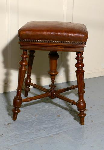 Rare French Square Walnut & Leather Revolving Piano Stool (1 of 1)