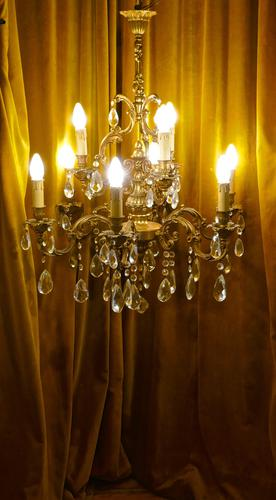 Charming Large French Crystal & Brass 9 Branch Chandelier (1 of 1)