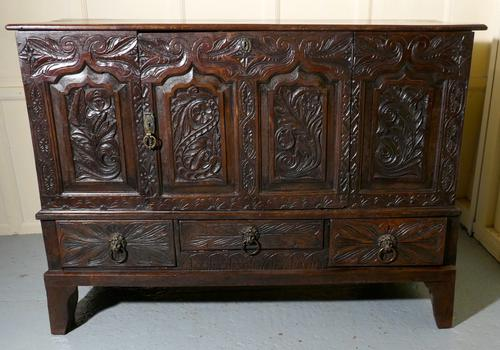 Large 18th Century Carved Oak Marriage Chest (1 of 9)