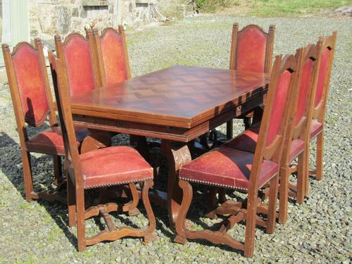 Large 19th Century Carved & Parquetry Oak Draw Leaf Table (1 of 1)