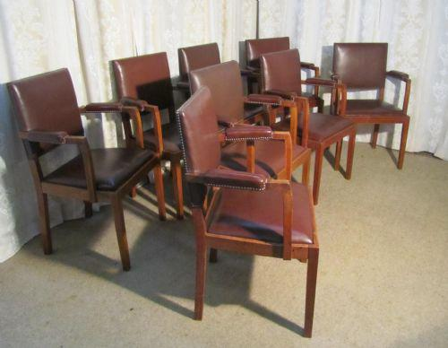Set of 8 Oak & Leather Boardroom or Dining Chairs by Heals (1 of 1)