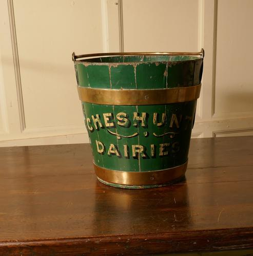 19th Century Painted & Brass Dairy Bucket or Milk Pail (1 of 1)