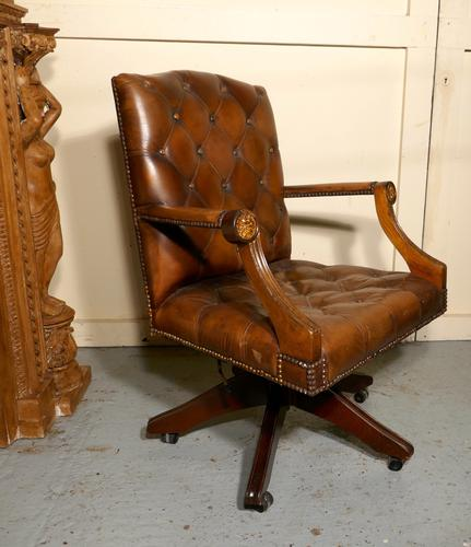 Chesterfield Leather Library or Office Desk Chair (1 of 1)