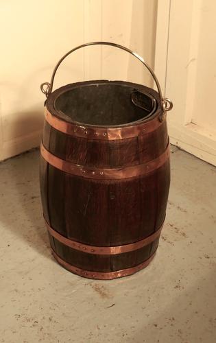 19th Century Copper & Oak Barrel Bucket for Coal or Logs (1 of 1)