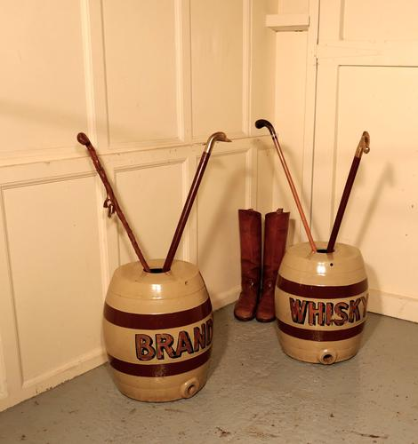 Large Pair 19th Century Stoneware Brandy & Whisky Barrels, Quirky Umbrella & Stick Stands (1 of 5)