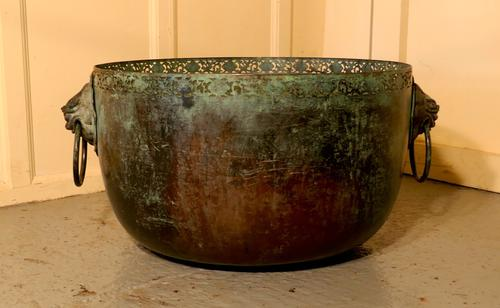 Large Bronze Temple Water Bowl with Lion Dog Mask Ring Handles 1850 (1 of 8)