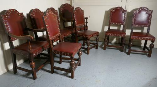 Set of 8 Gothic Oak Dining Chairs by Gillow (1 of 1)