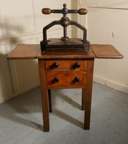 19th Century, Cast Iron Flower or Book Press, on Original Mahogany Table (1 of 1)