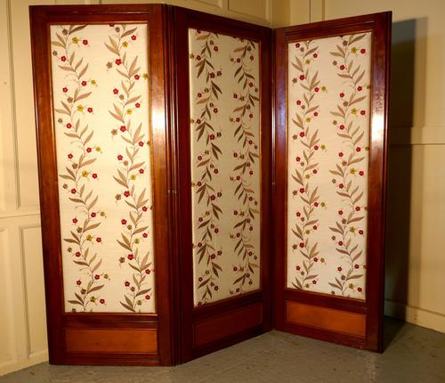 Victorian 3 Fold Mahogany Dressing Screen, Room Divider with Upholstered Panels (1 of 1)