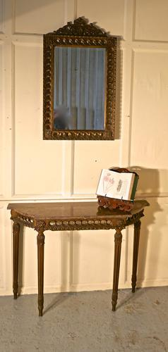 Charming, Carved French Gilt Console or Hall Table with Matching Mirror (1 of 1)