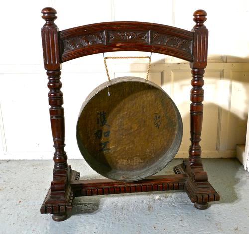 Large Gothic Carved Oak & Brass Dinner Gong (1 of 1)