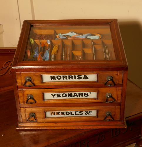 Morris and Yeoman's Needles & Co Haberdashery Advertising 3 Drawer Cabinet (1 of 1)