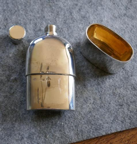 Solid Silver Hallmarked Pocket or Hip Flask & Cup Date 1888 (1 of 7)