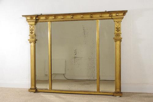 Regency Gilt Triple Plate Overmantle Mirror (1 of 8)