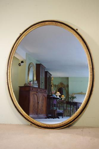 Large Oval Ebonised & Parcel Gilt Mirror (1 of 1)