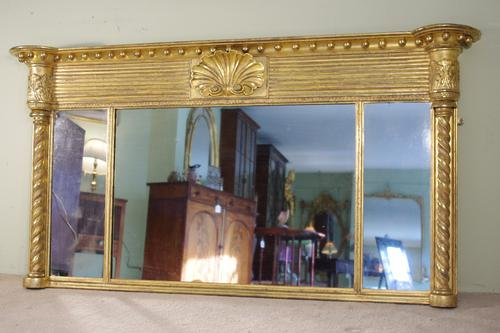 19th Century English Gilt Triple-Plate Overmantle Mirror (1 of 1)