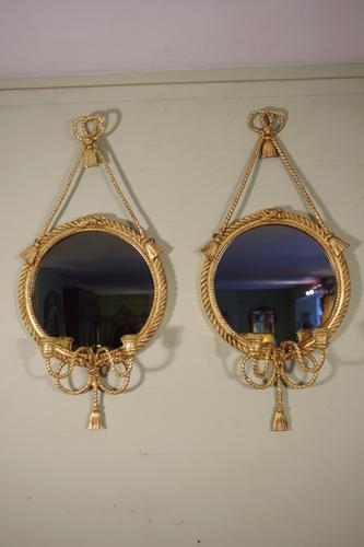 Pair of Gilt Rope Twist Girandole Mirrors (1 of 1)