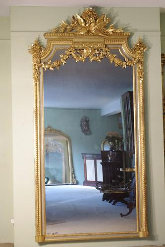 19th Century French Louis XVI Style Painted & Parcel Gilt Mirror (1 of 1)