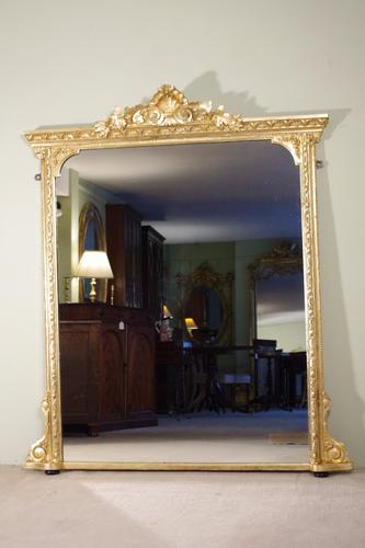19th Century English Gilt Overmantle Mirror (1 of 1)
