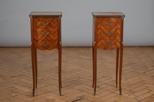 Pair of French Three Drawer Walnut Bedside Cabinets (1 of 11)