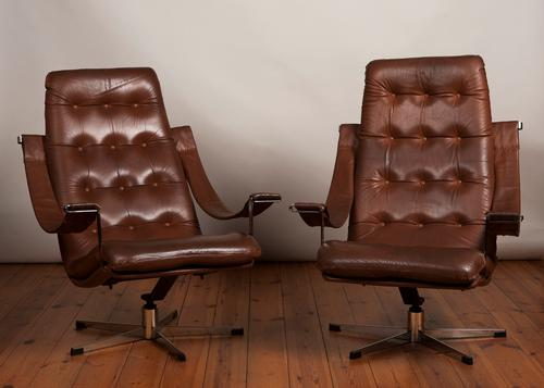 Pair of Danish 1970's Leather & Chrome Swivel Armchairs (1 of 5)