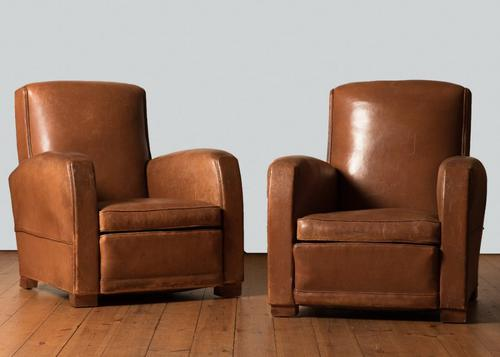 French Art Deco Leather Club Armchairs (1 of 1)