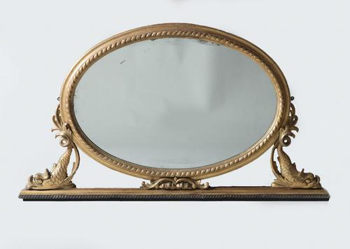 Late 19th century French Giltwood Overmantle Mirror (1 of 1)