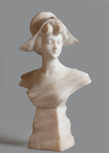 French Carved Alabaster Sculpture of a Female (1 of 1)