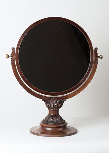 Large Mahogany Carved Circular Dressing Mirror c.1900 (1 of 1)