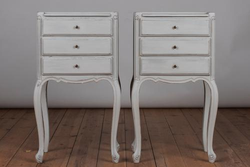 Pair of French Painted Three Drawer Bedside Cabinets (1 of 1)