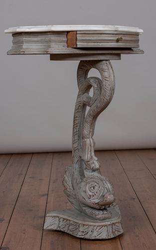 French Painted Carved Wood Dolphin Console Table (1 of 1)