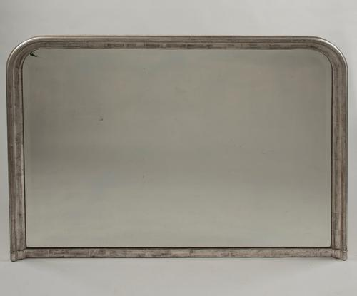 Large French 19th Century Silvered Overmantle Mirror (1 of 1)