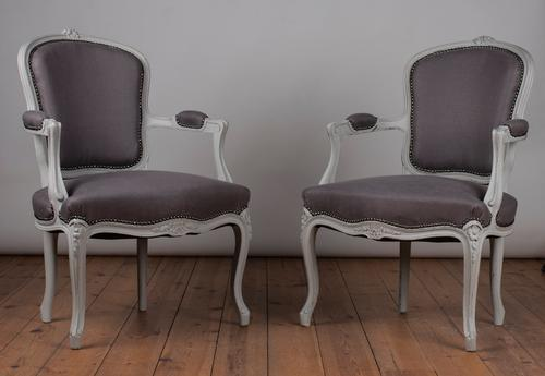 Pair of French Louis XV Style Painted Upholstered Fauteuil Armchairs (1 of 1)