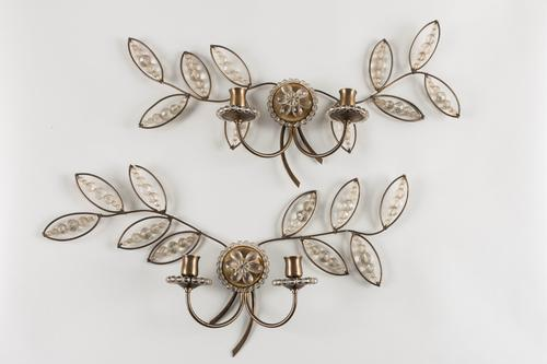 Pair of French Glass & Brass Wall Sconces / Lights (1 of 1)