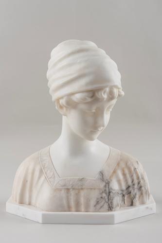 Carved Alabaster Sculpture of a Girl, Signed Morin German Artist Georges Morin (1 of 5)