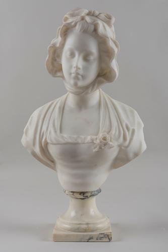 Italian Carved Marble Sculpture of a Female, Signed by Italian Artist Pugi (1 of 1)